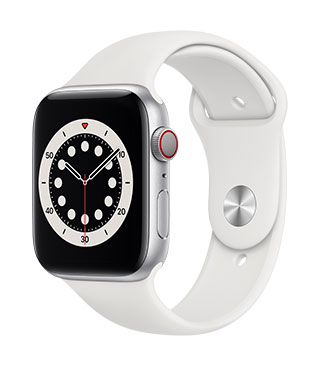 Apple Watch Series 6 (GPS) Silver Aluminium White Sports Band