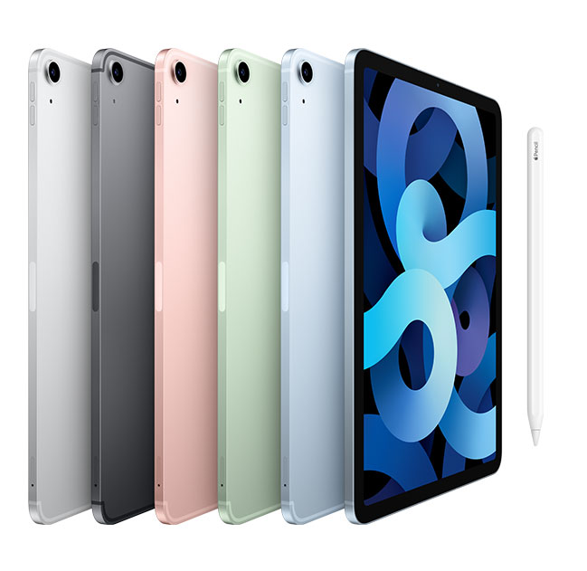 iPad air 10.9-inch Silver, Space Gray, Rose Gold, Green, and Sky Blue